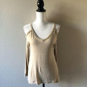 Abercrombie & Fitch Oatmeal Cold Shoulder Top